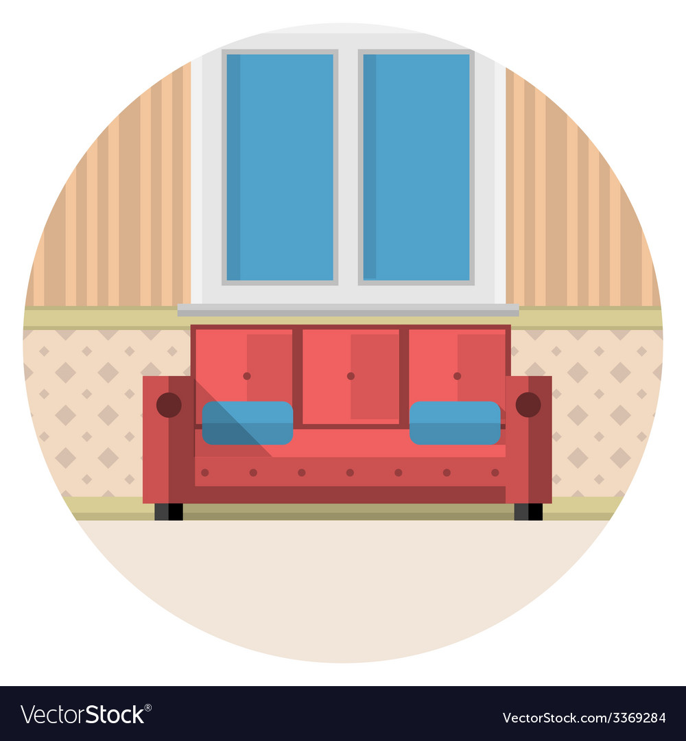 Flat icon for living room vector | Price: 1 Credit (USD $1)