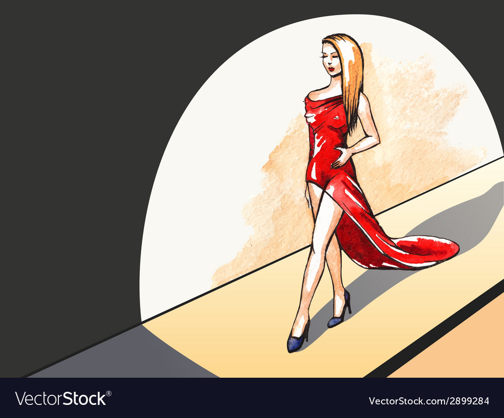 Lady in red on the runway vector