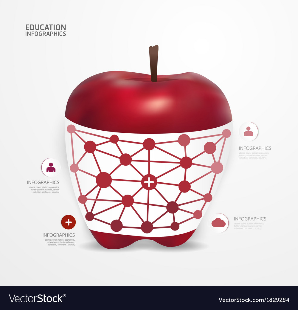 Modern design apple dot minimal style infographic vector | Price: 1 Credit (USD $1)