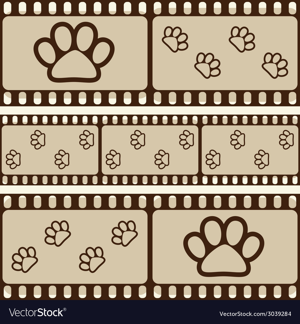Retro background with film strips and pet paws vector   Price: 1 Credit (USD $1)