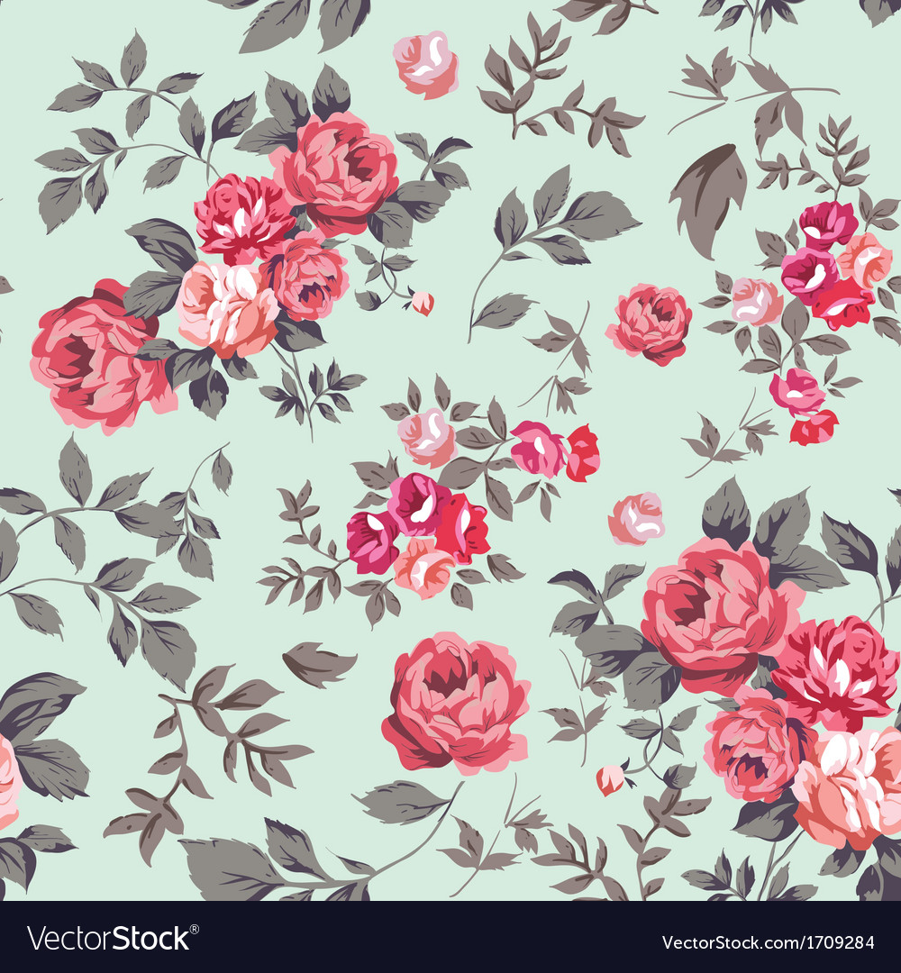 Rose seamless pattern pink mint vector | Price: 1 Credit (USD $1)