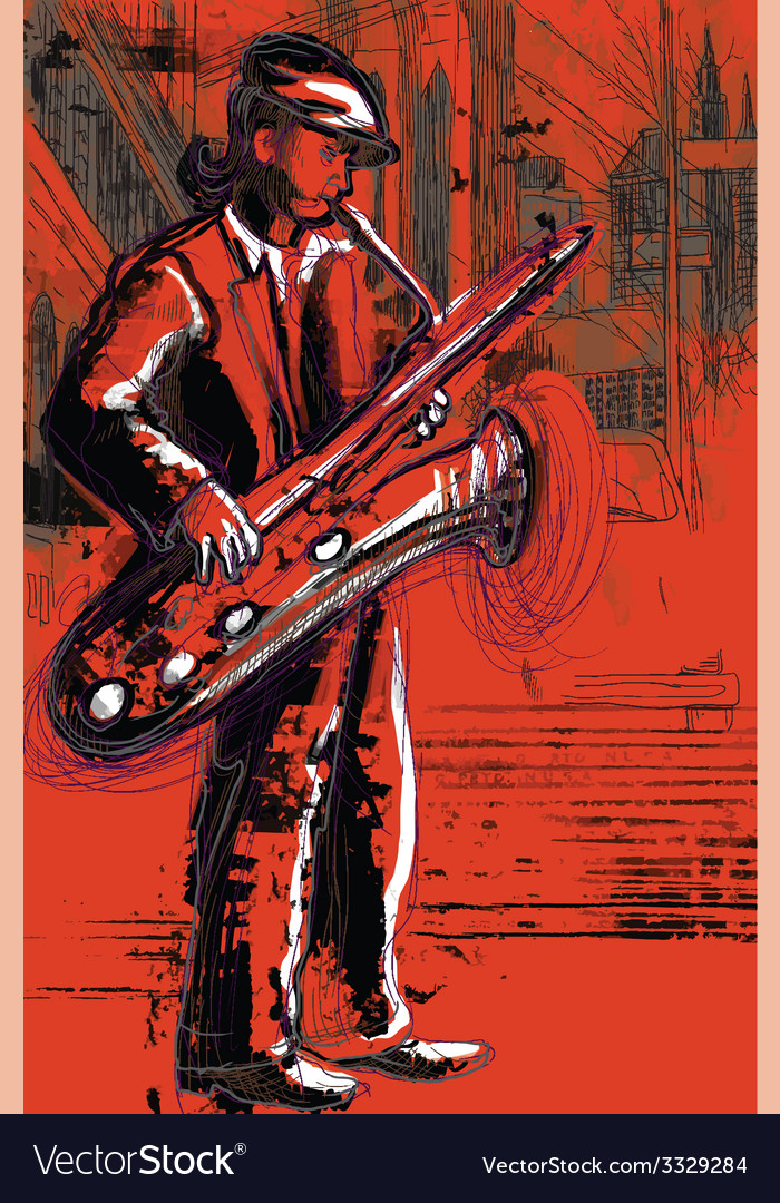 Sax player vector | Price: 3 Credit (USD $3)