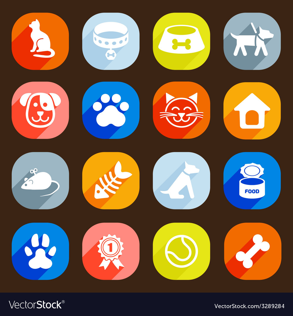 Trendy flat dog and cat icons elements vector