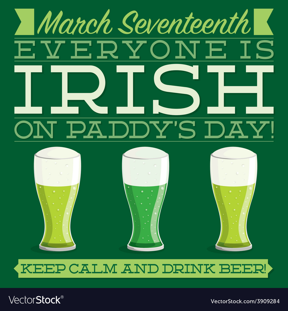 Typographic retro st patricks day card in format vector | Price: 1 Credit (USD $1)