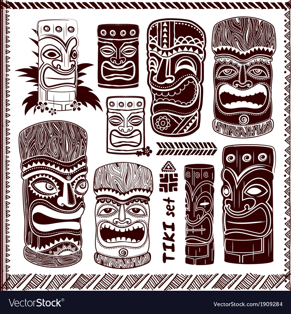 Vintage aloha tiki set vector | Price: 1 Credit (USD $1)