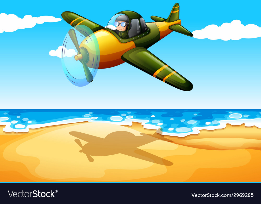 An aircraft at the beach vector | Price: 1 Credit (USD $1)