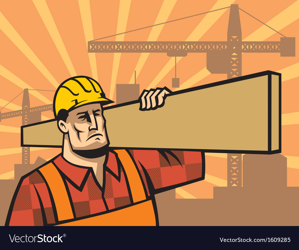 Building worker with board vector | Price: 1 Credit (USD $1)