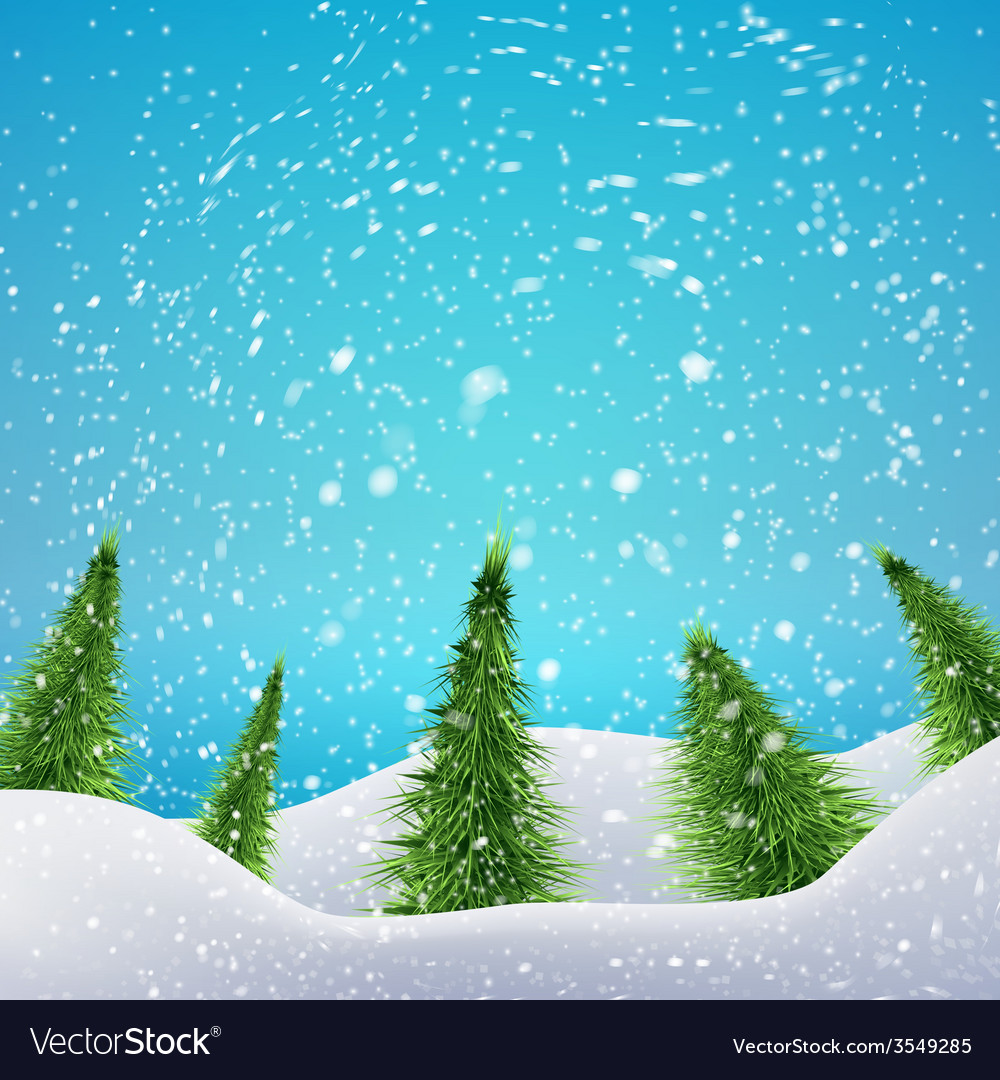 Christmas forest with snowfall and drifts concept vector | Price: 1 Credit (USD $1)