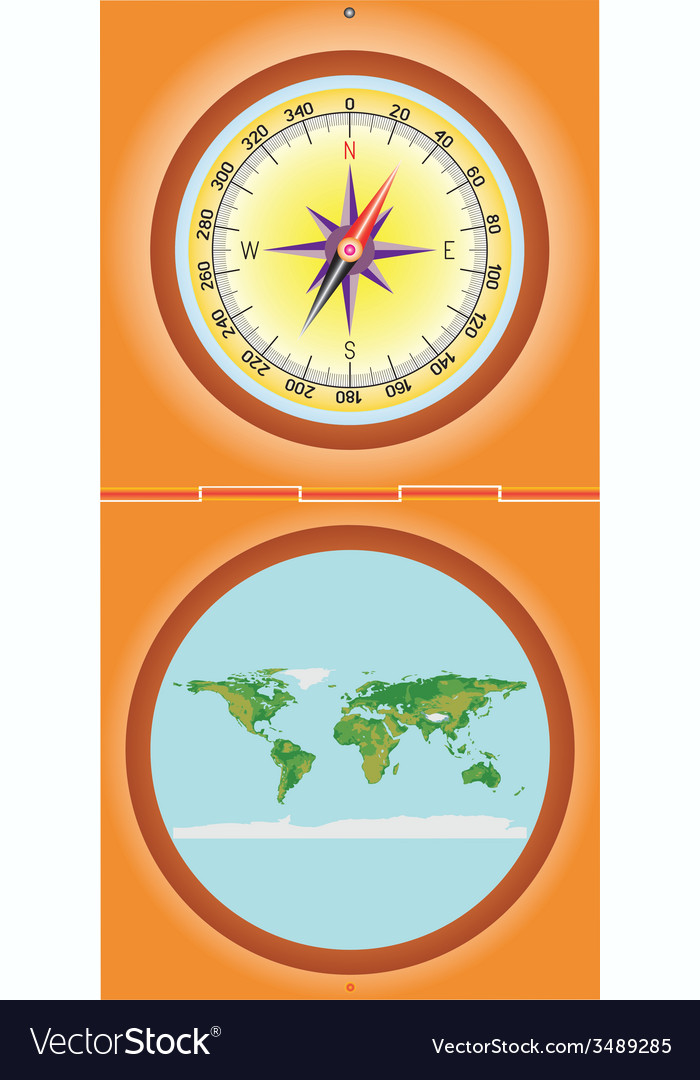 Compass with a map vector | Price: 1 Credit (USD $1)