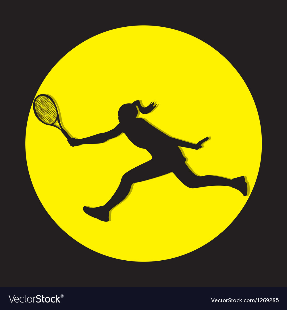 Female tennis player shilouete vector | Price: 1 Credit (USD $1)
