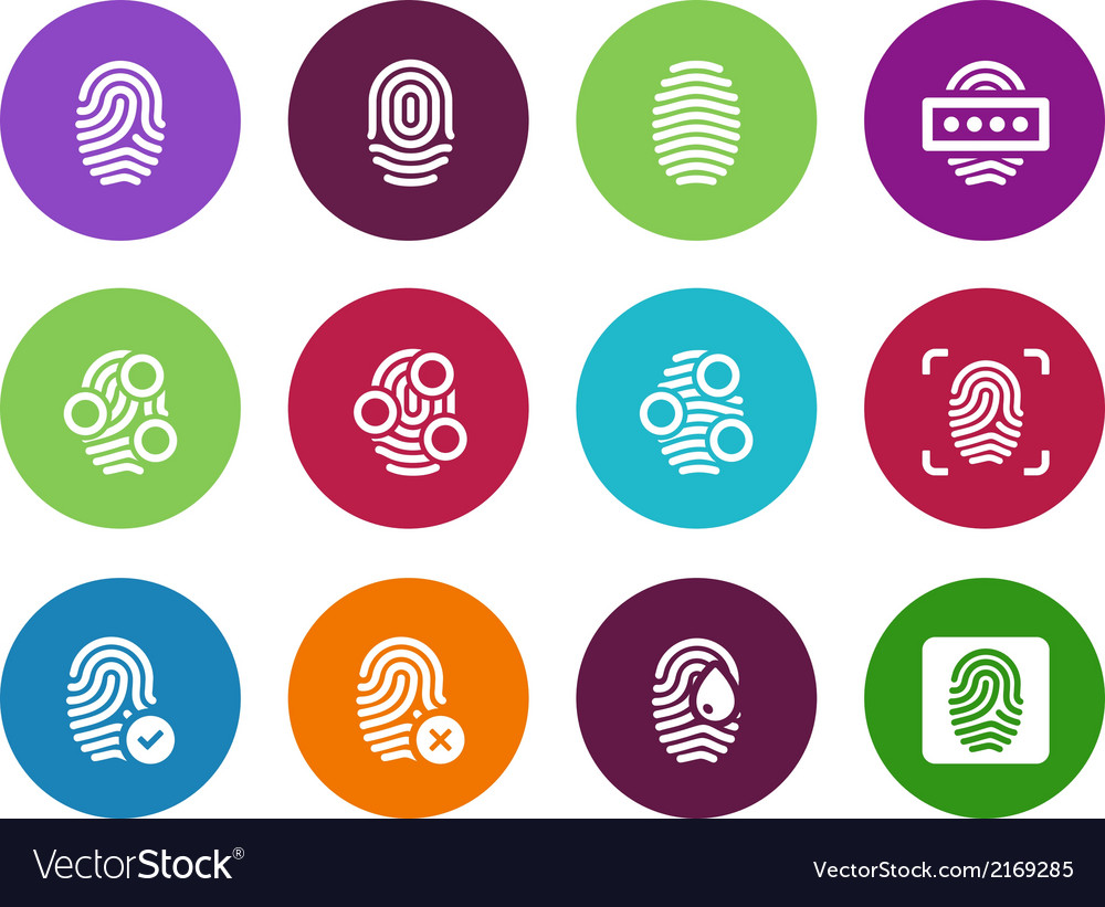 Fingerprint circle icons on white background vector | Price: 1 Credit (USD $1)