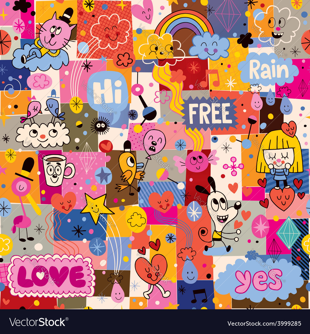 Hand drawn sketchy fun cartoon collage pattern vector | Price: 1 Credit (USD $1)
