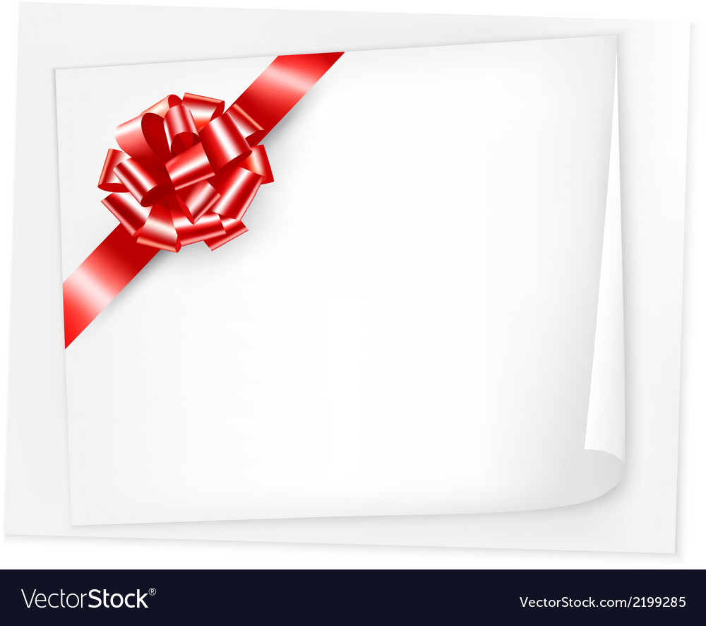 Holiday background with sheet of paper and red bow vector | Price: 1 Credit (USD $1)