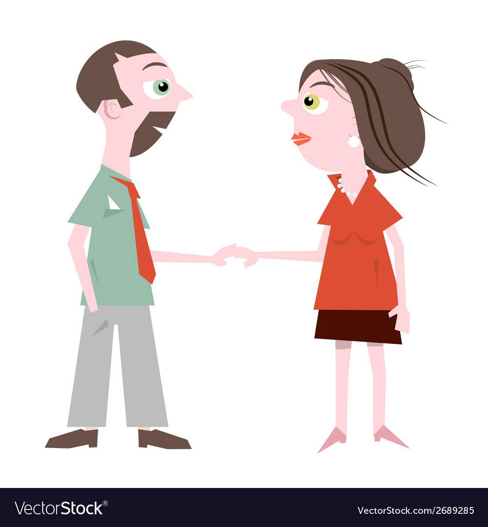 Man and woman holding hands isolated on whit vector | Price: 1 Credit (USD $1)