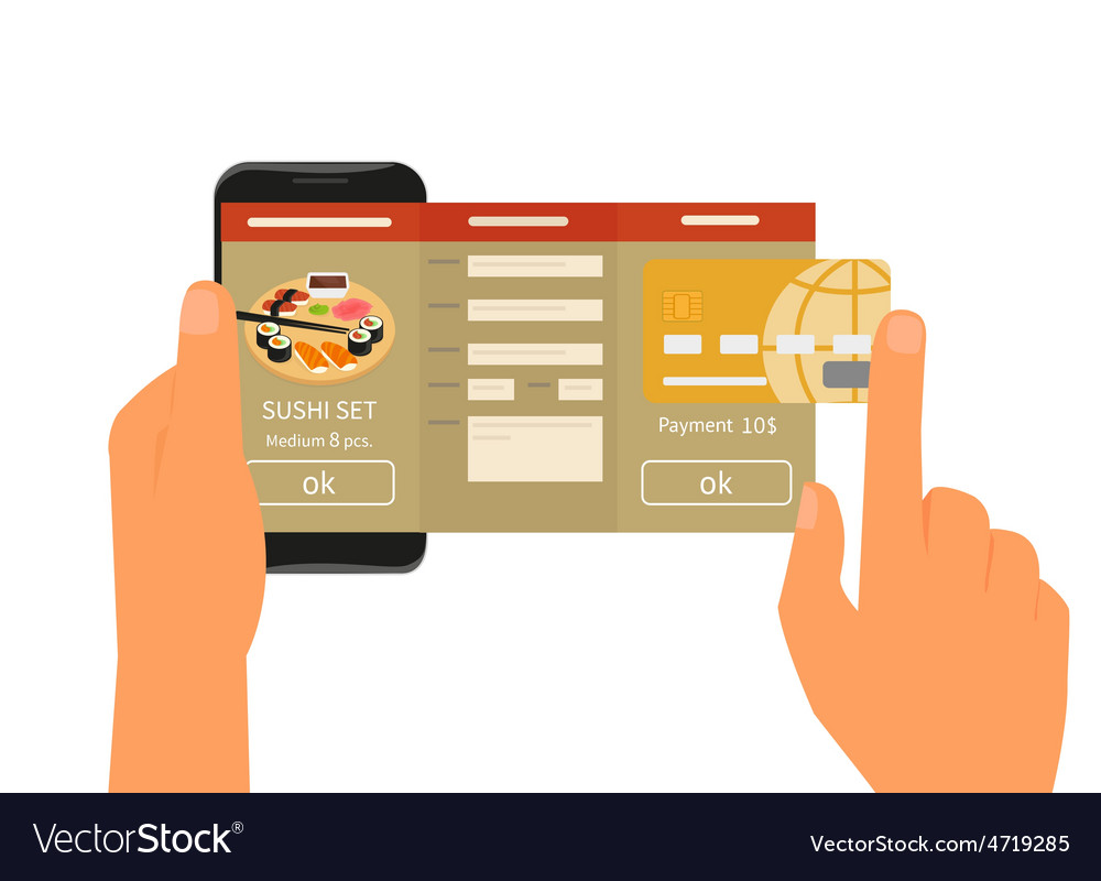 Mobile app for ordering sushi vector | Price: 1 Credit (USD $1)