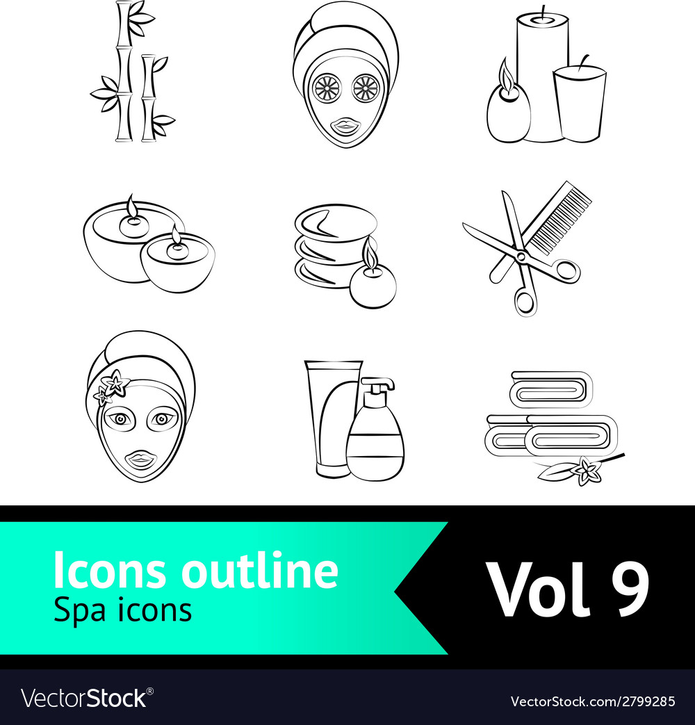 Outline spa icons set vector | Price: 1 Credit (USD $1)