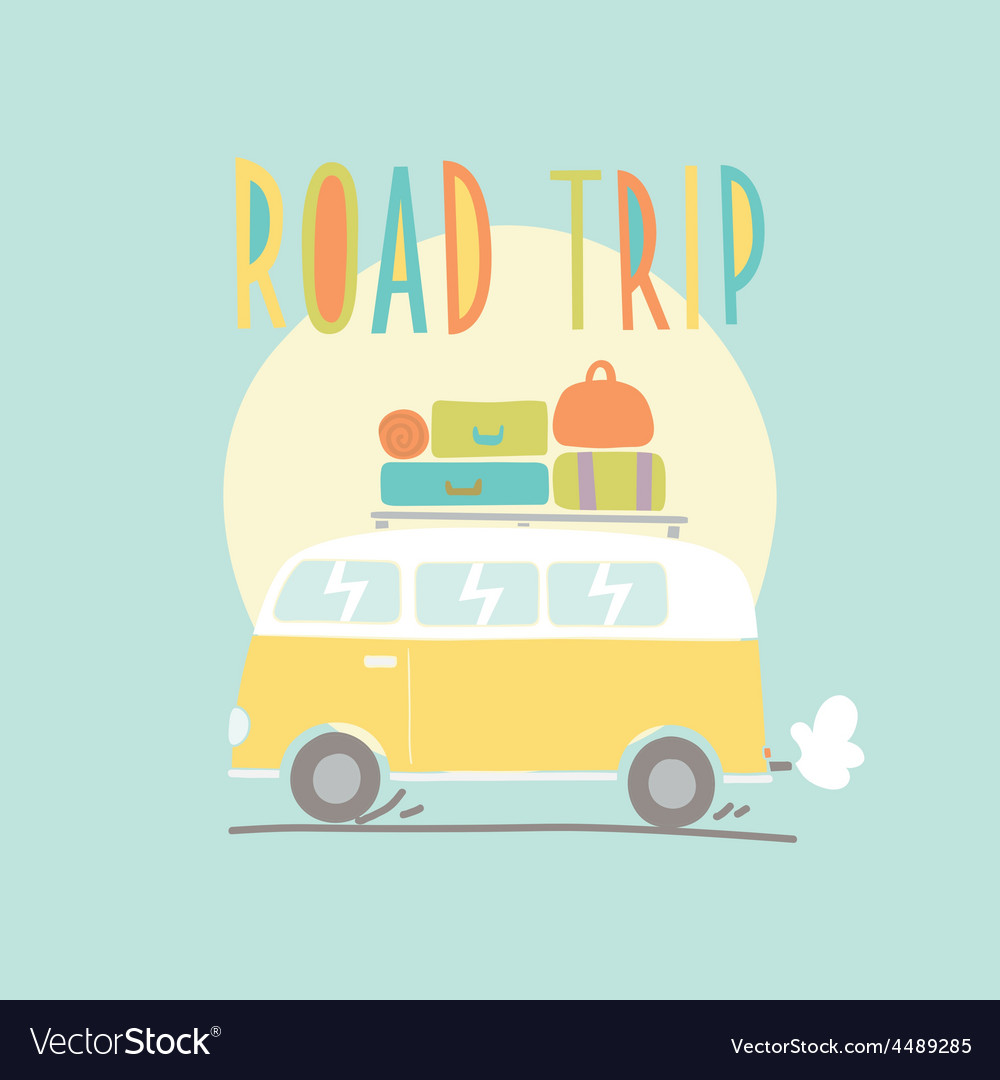 Road trip van with a lot of luggage vector | Price: 1 Credit (USD $1)