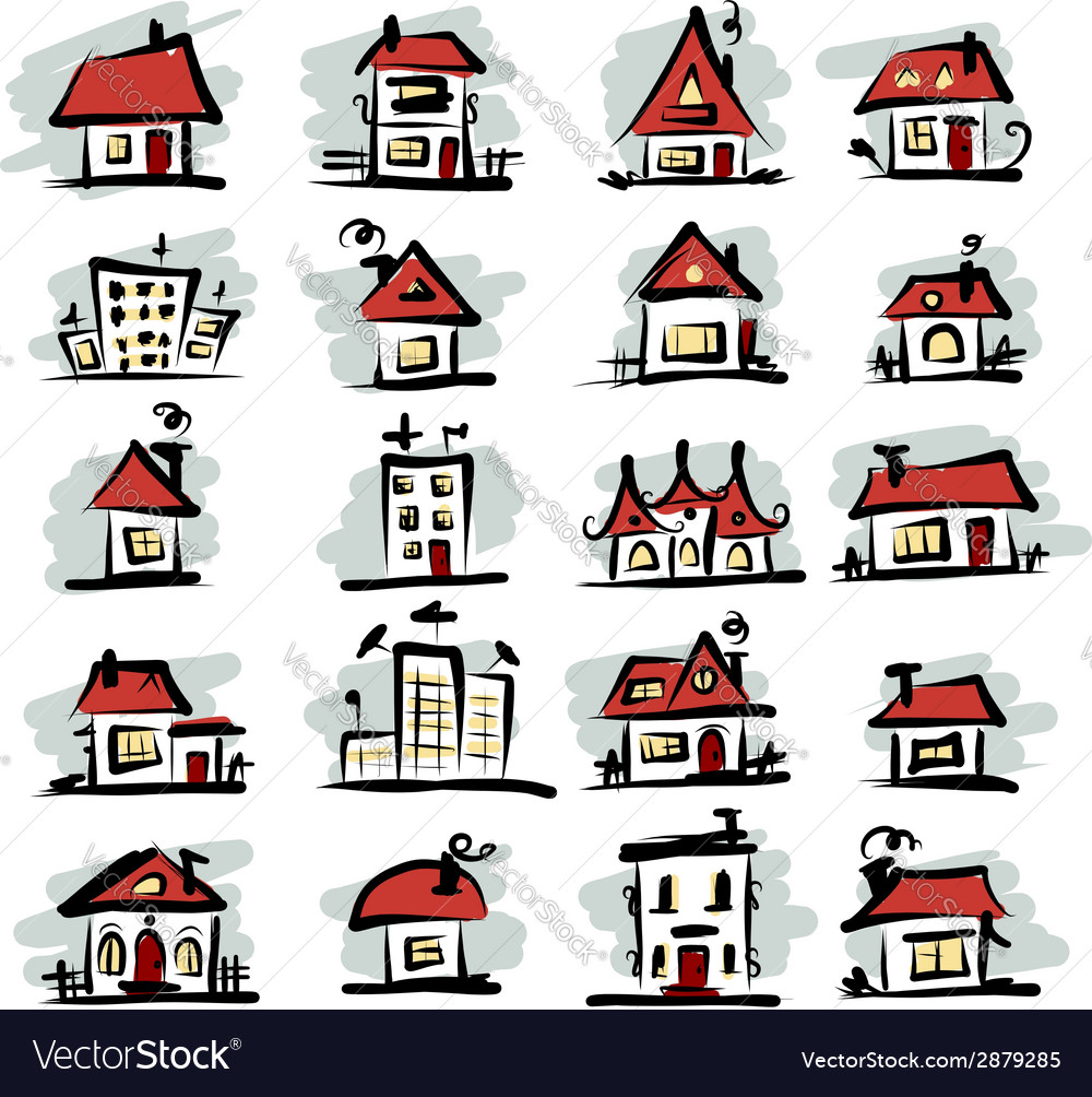 Set of houses sketch for your design vector | Price: 1 Credit (USD $1)