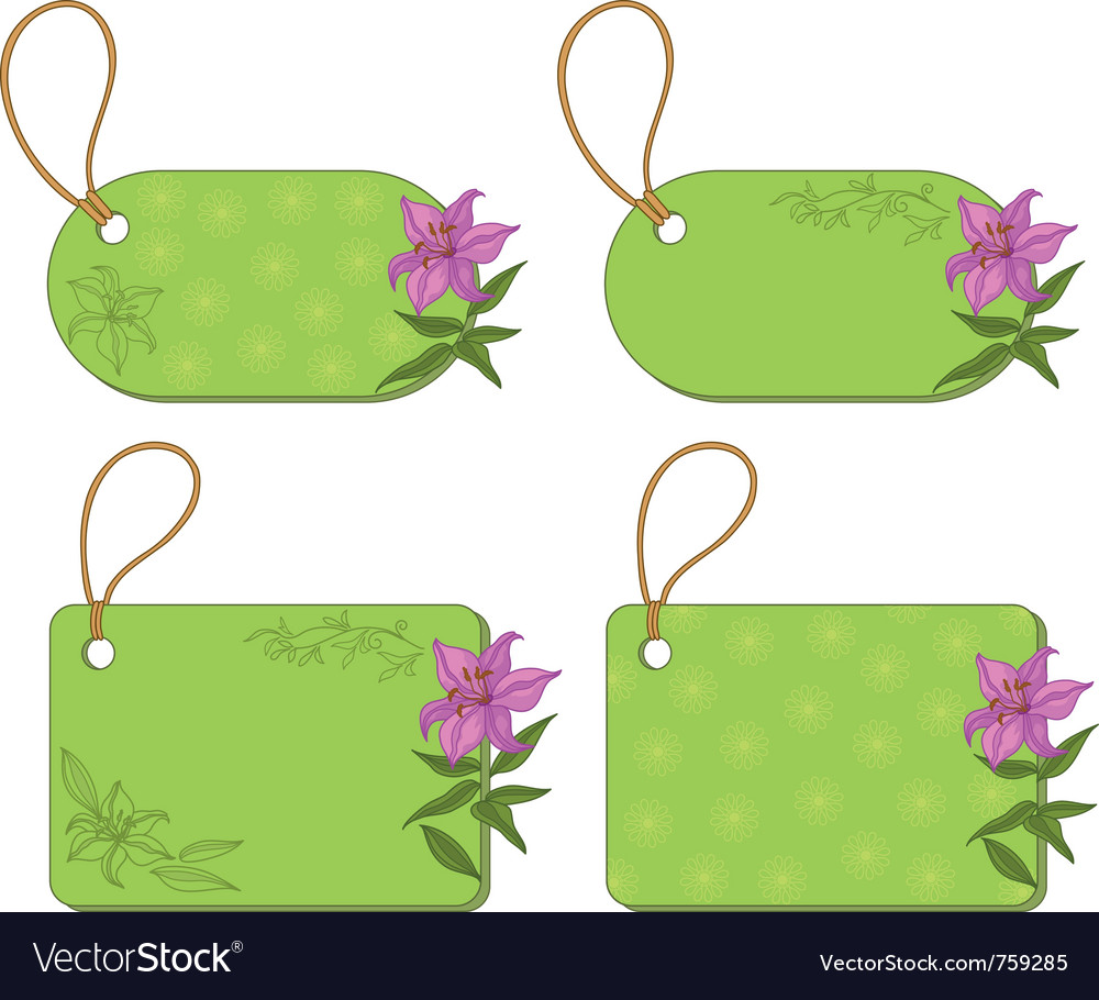 Tags with floral pattern vector | Price: 1 Credit (USD $1)