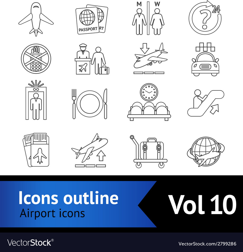 Airport icons outline set vector | Price: 1 Credit (USD $1)