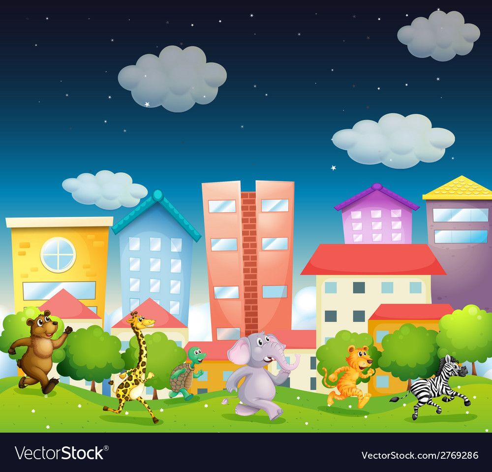 Animals and city vector | Price: 1 Credit (USD $1)