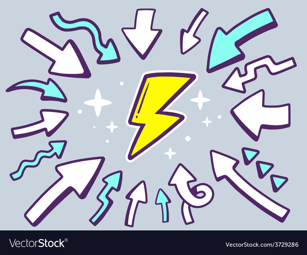 Arrows point to icon of lightning on gray vector | Price: 1 Credit (USD $1)