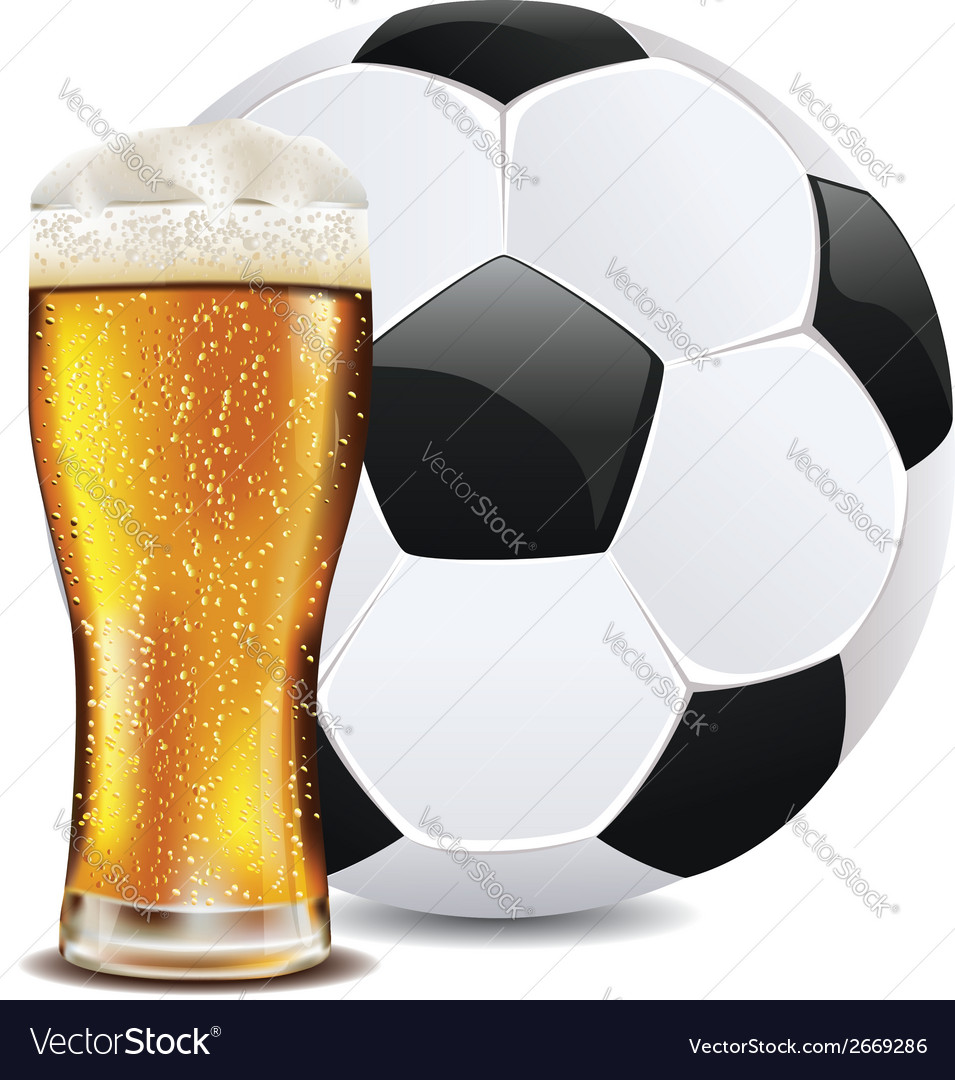 Beer and soccer ball2 vector | Price: 1 Credit (USD $1)