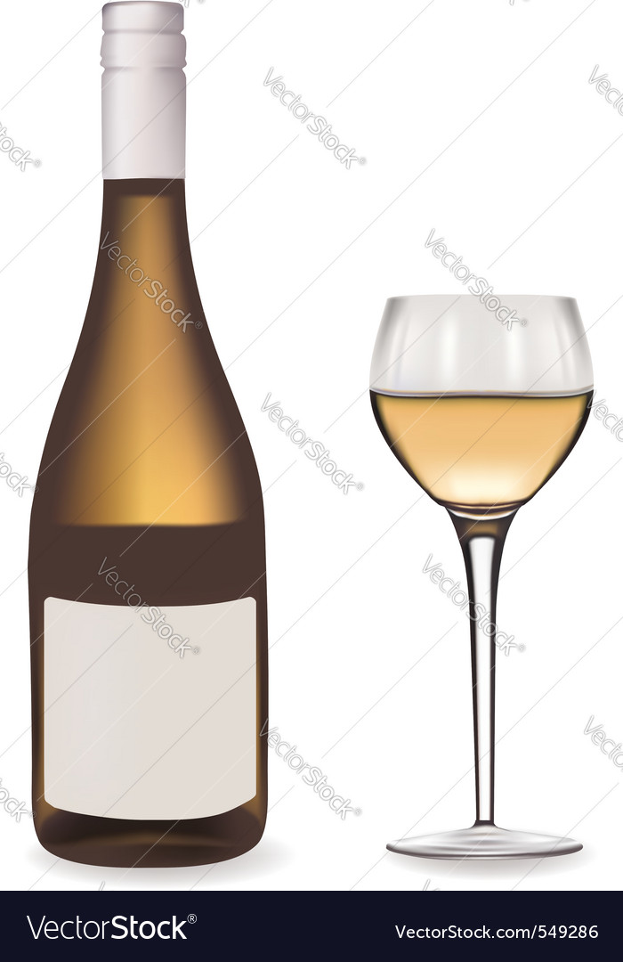 Bottle of white wine and glass vector | Price: 1 Credit (USD $1)
