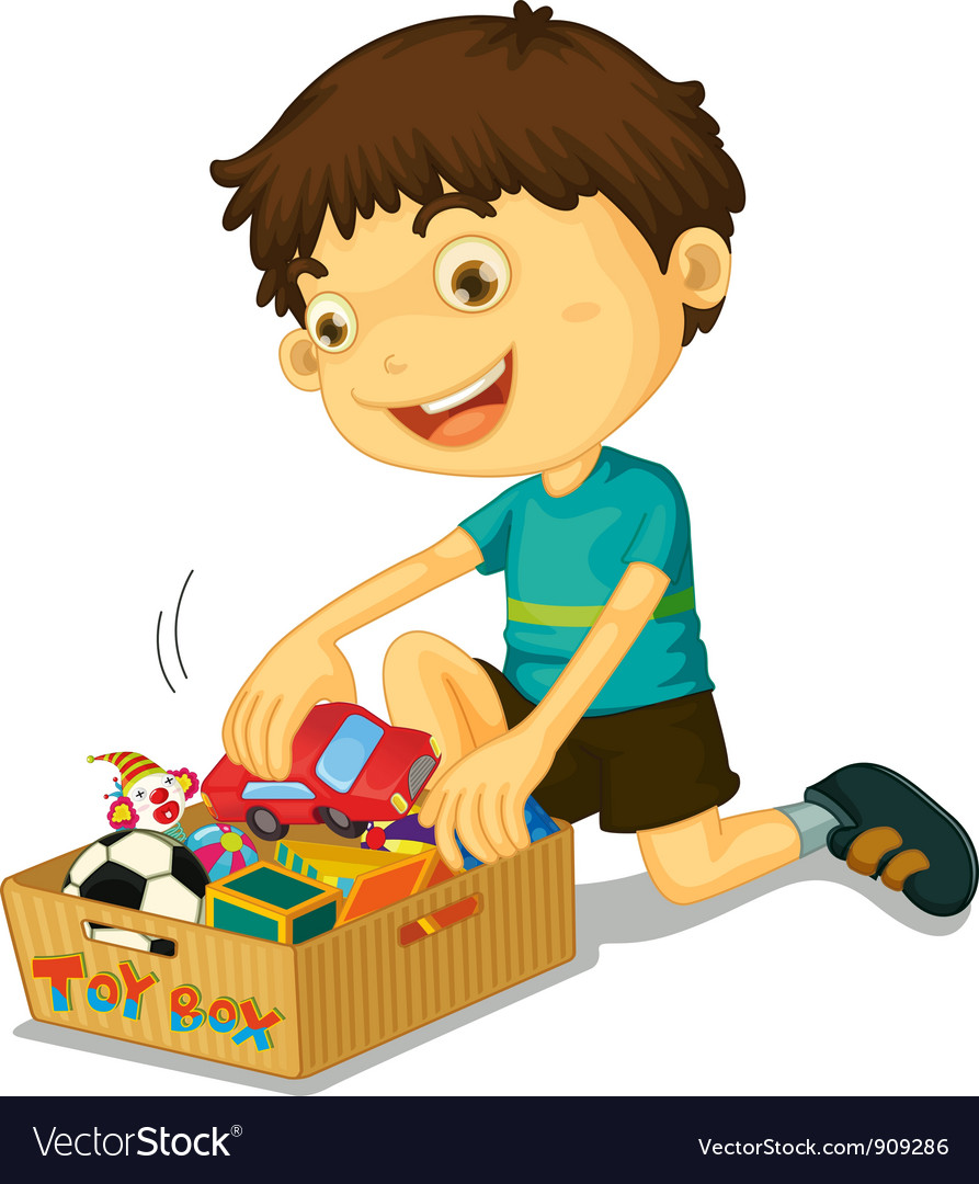Boy with his toys vector | Price: 3 Credit (USD $3)