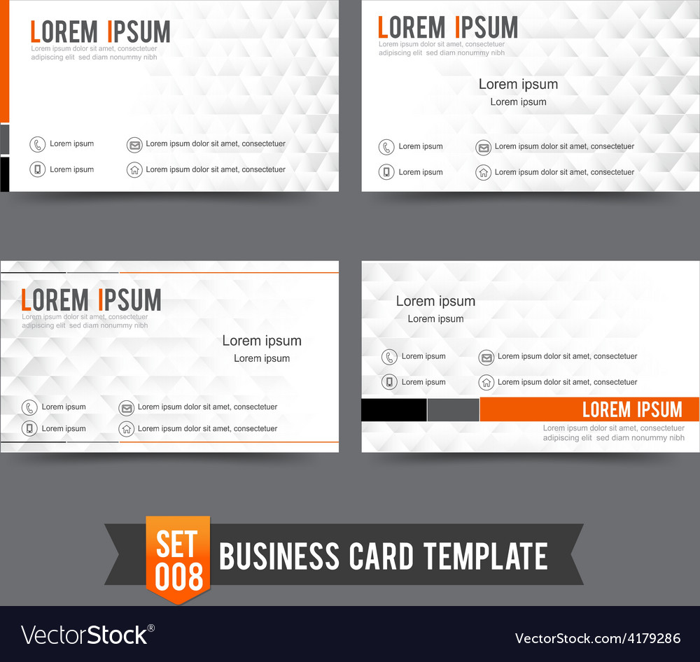 Business card template set 008 clear and minimal vector | Price: 1 Credit (USD $1)