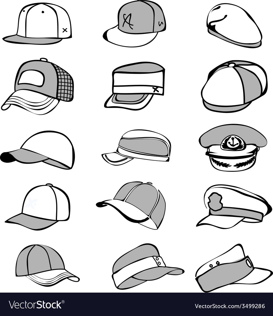 Cap set isolated on white hat icon baseball rap vector | Price: 1 Credit (USD $1)