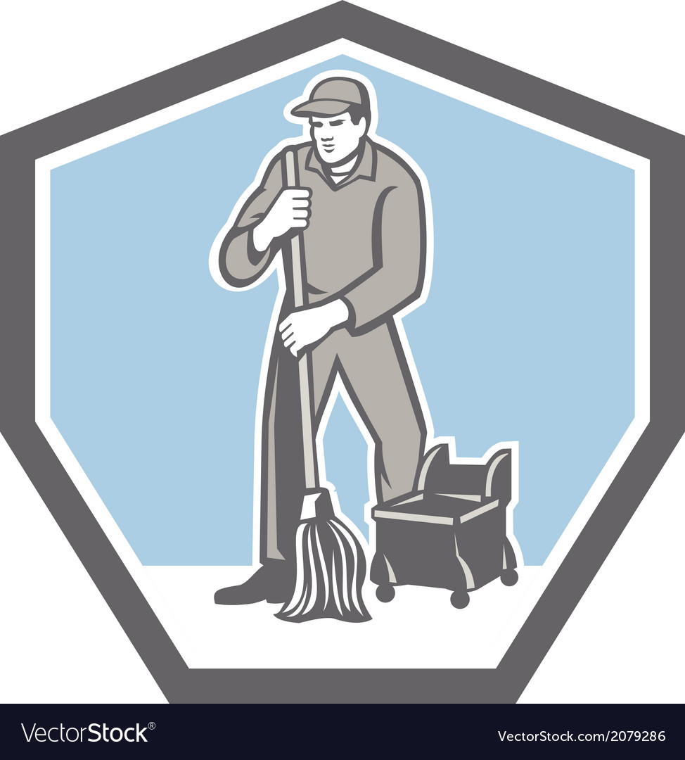 Cleaner janitor mopping floor retro shield vector | Price: 1 Credit (USD $1)