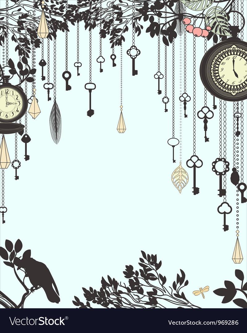 Clock and keys vintage vertical background vector