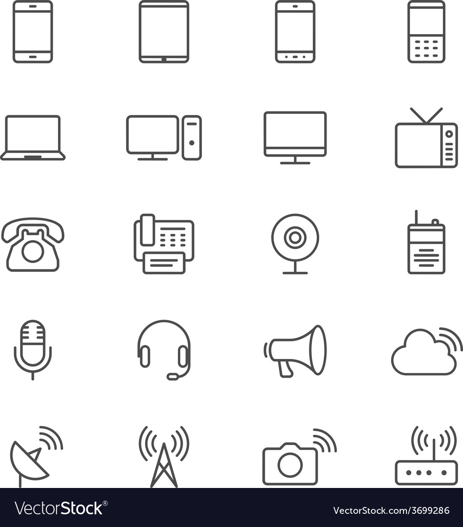 Communication device thin icons vector | Price: 1 Credit (USD $1)