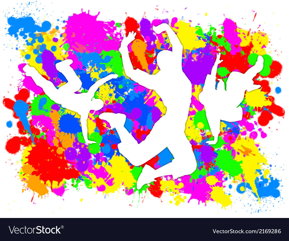 Dancers on paint splats vector | Price: 1 Credit (USD $1)