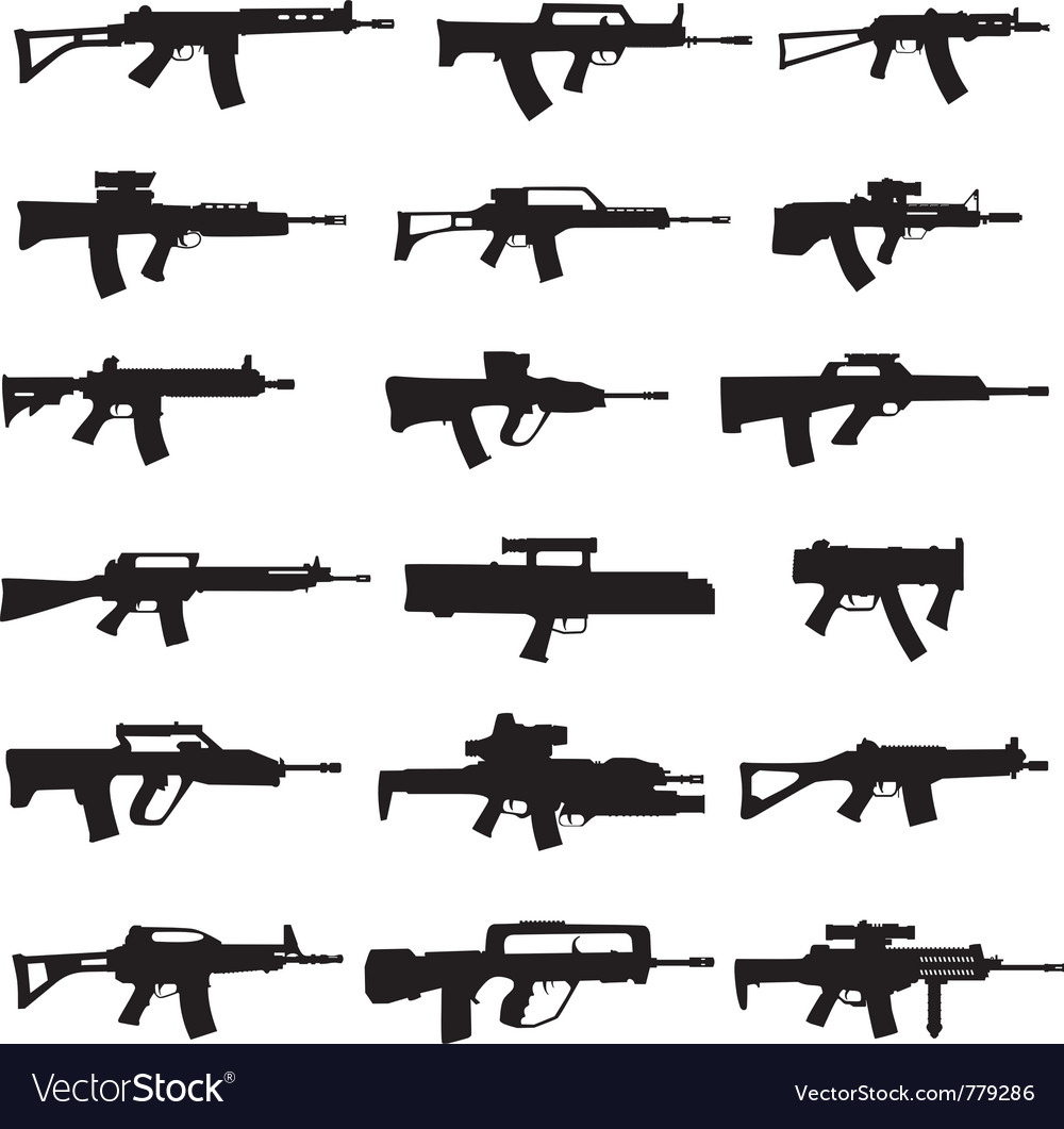 Modern rifles and machine guns vector