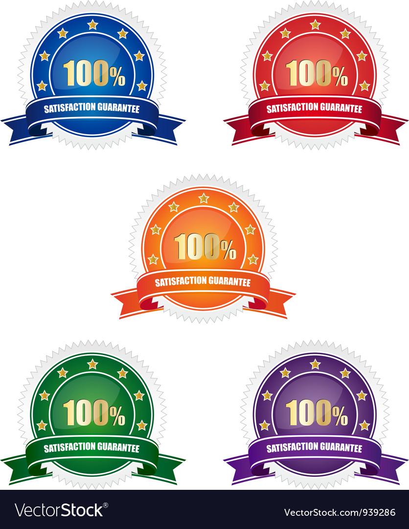 Satisfaction guarantee badges vector   Price: 1 Credit (USD $1)