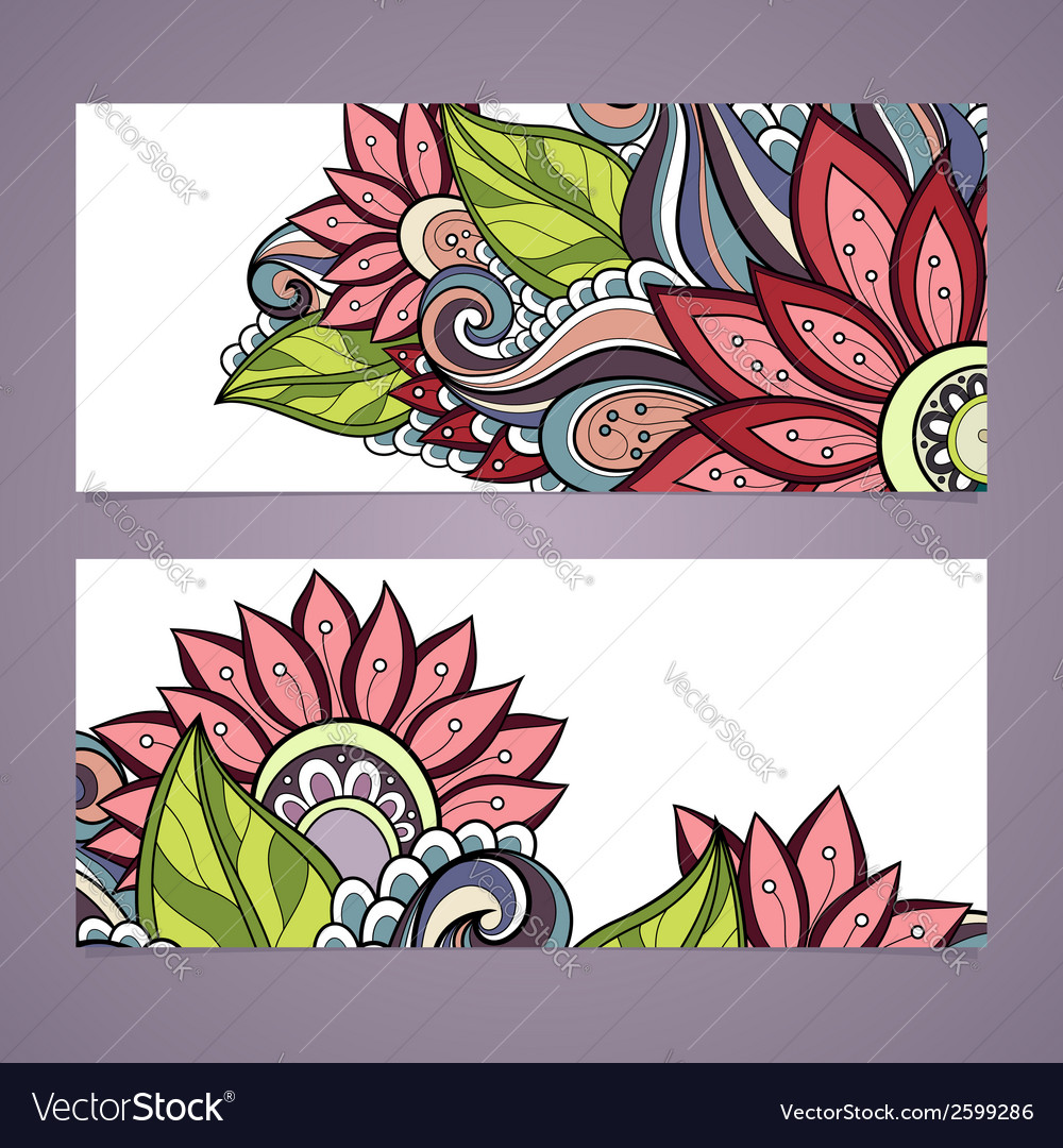 Set of floral banners vector | Price: 1 Credit (USD $1)