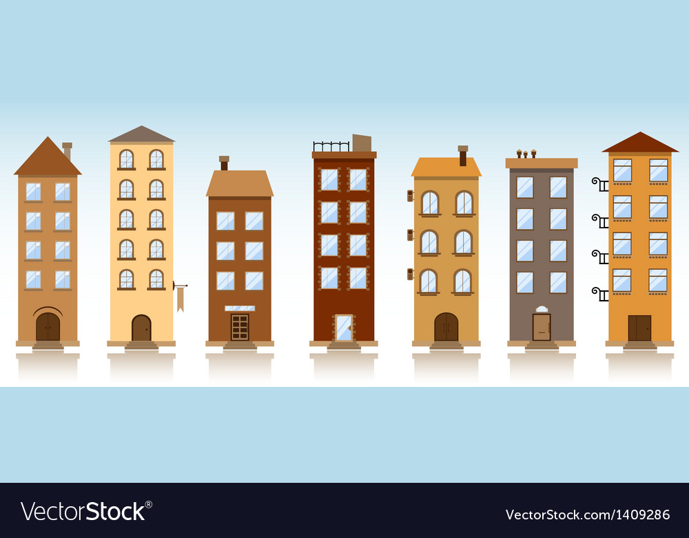 Seven buildings vector | Price: 1 Credit (USD $1)