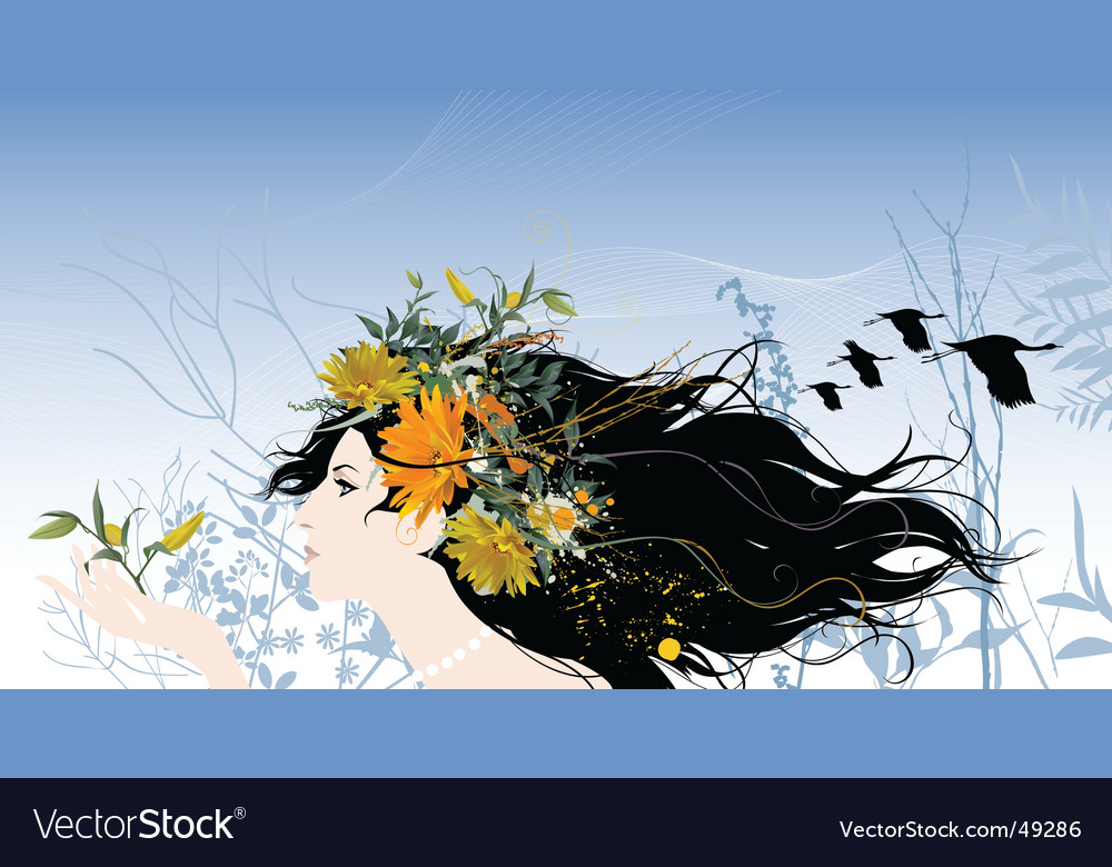 Woman with flowers vector   Price: 3 Credit (USD $3)