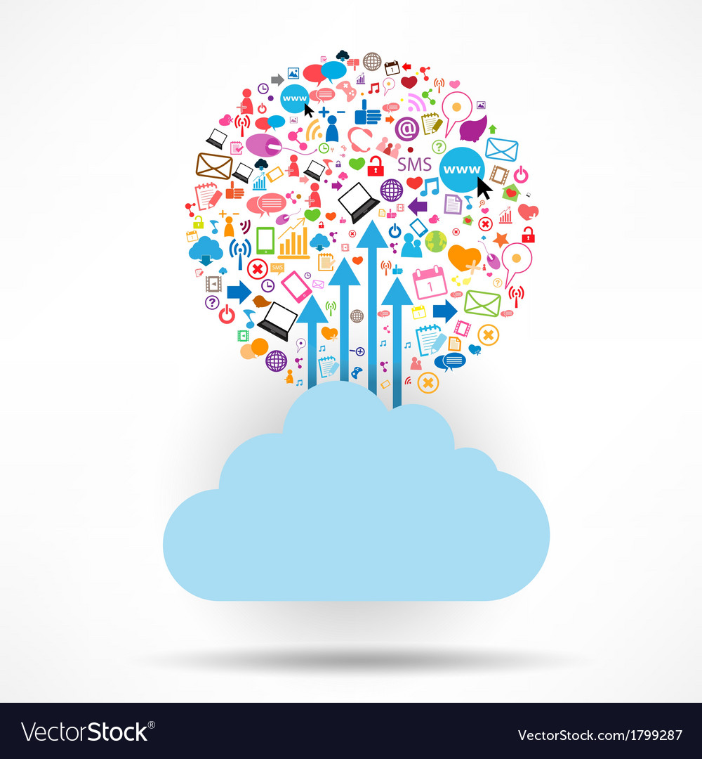 Cloud social network background with media icons vector | Price: 1 Credit (USD $1)