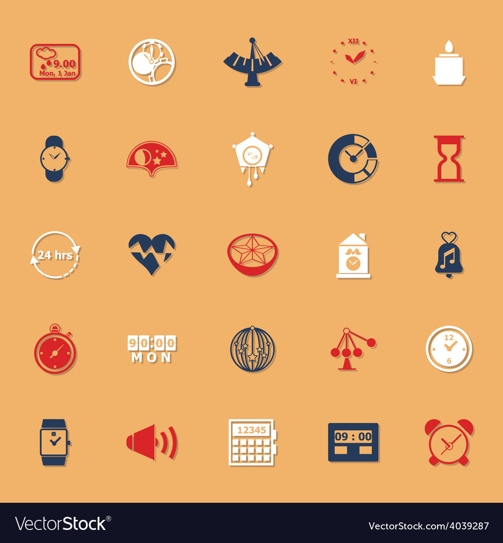 Design time classic color icons with shadow vector | Price: 1 Credit (USD $1)