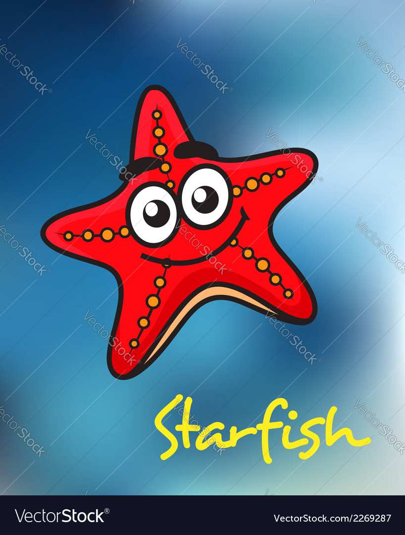 Happy little red cartoon starfish vector | Price: 1 Credit (USD $1)