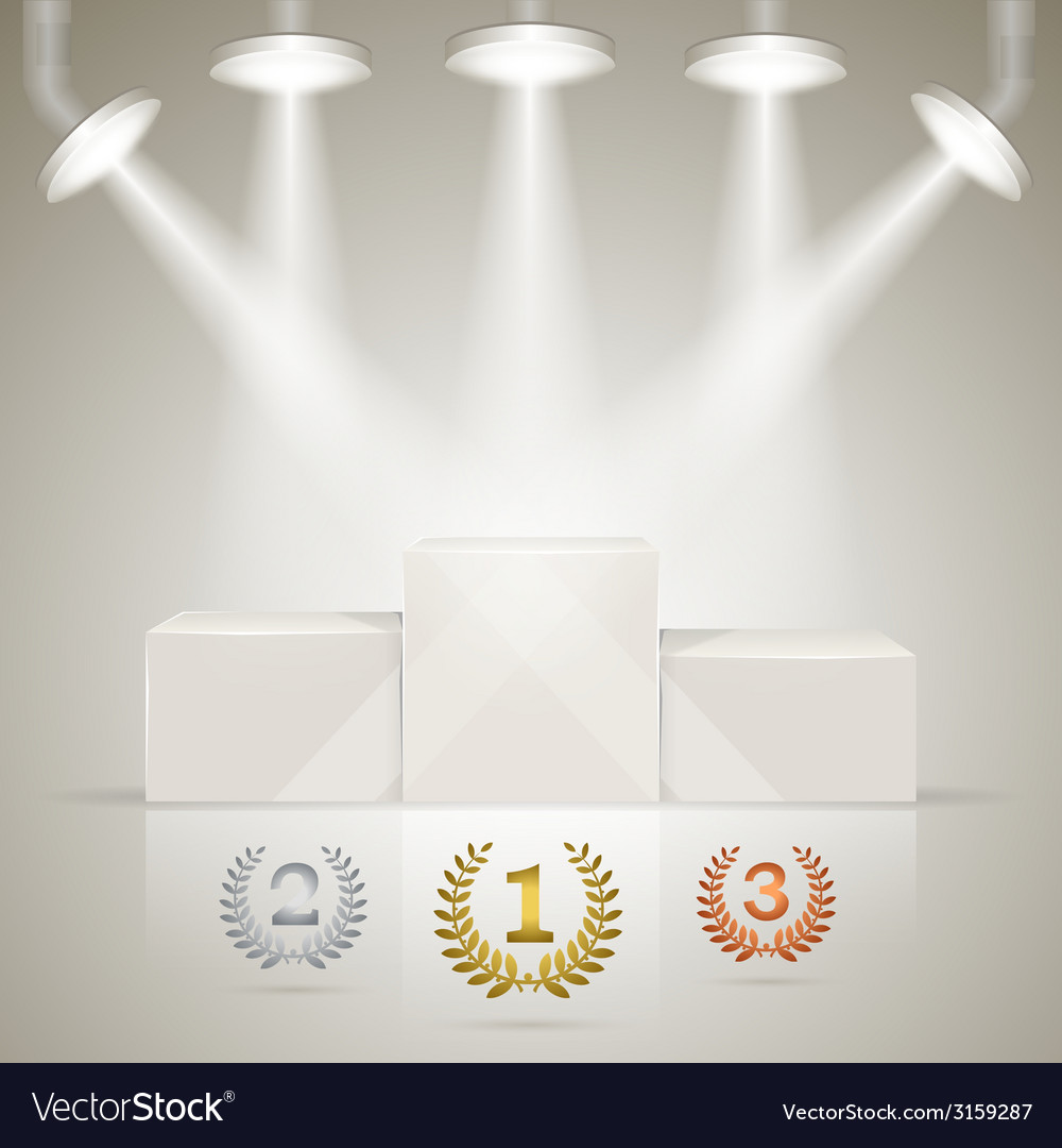 Illuminated sport winners pedestal with awards vector | Price: 1 Credit (USD $1)