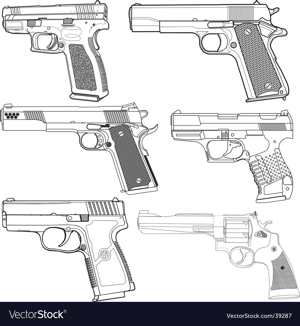 Pistols vector | Price: 1 Credit (USD $1)