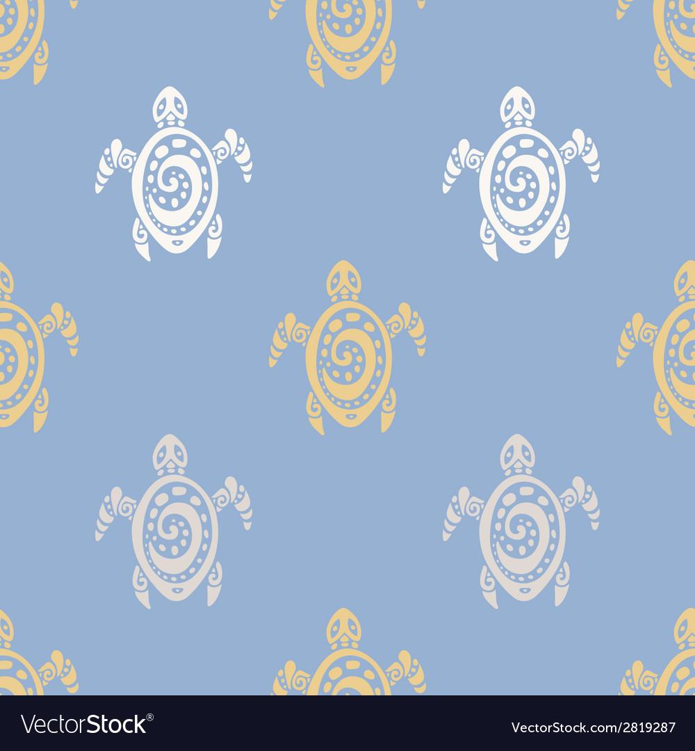 Sea turtles seamless pattern vector | Price: 1 Credit (USD $1)