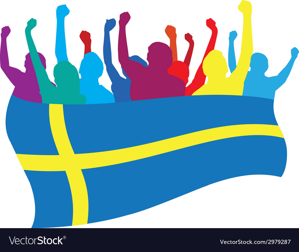 Sweden fans vector | Price: 1 Credit (USD $1)