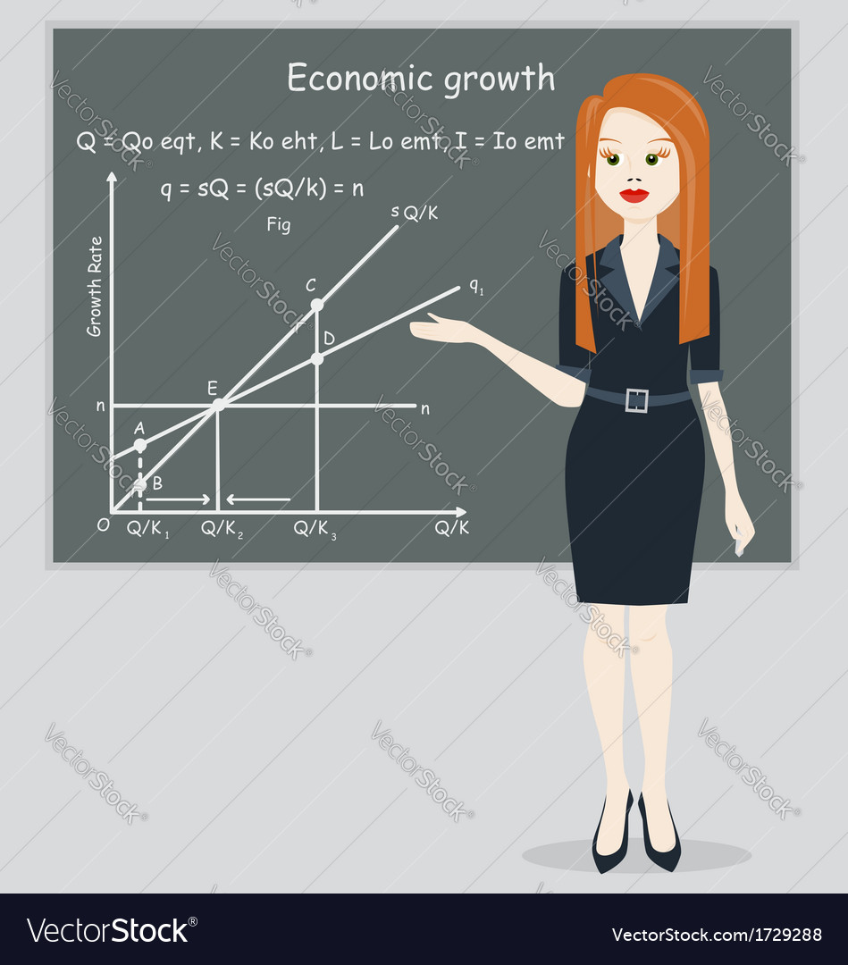 Business woman presentation economic growth vector | Price: 1 Credit (USD $1)