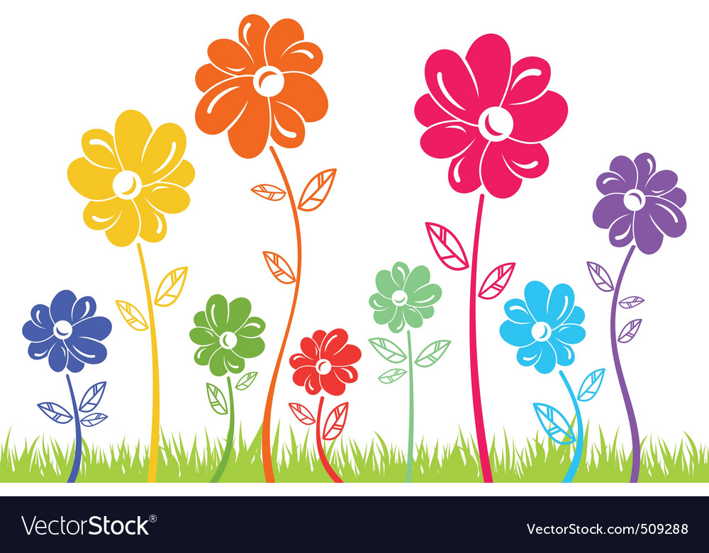 Colour flowers on green grass isolated vector | Price: 1 Credit (USD $1)