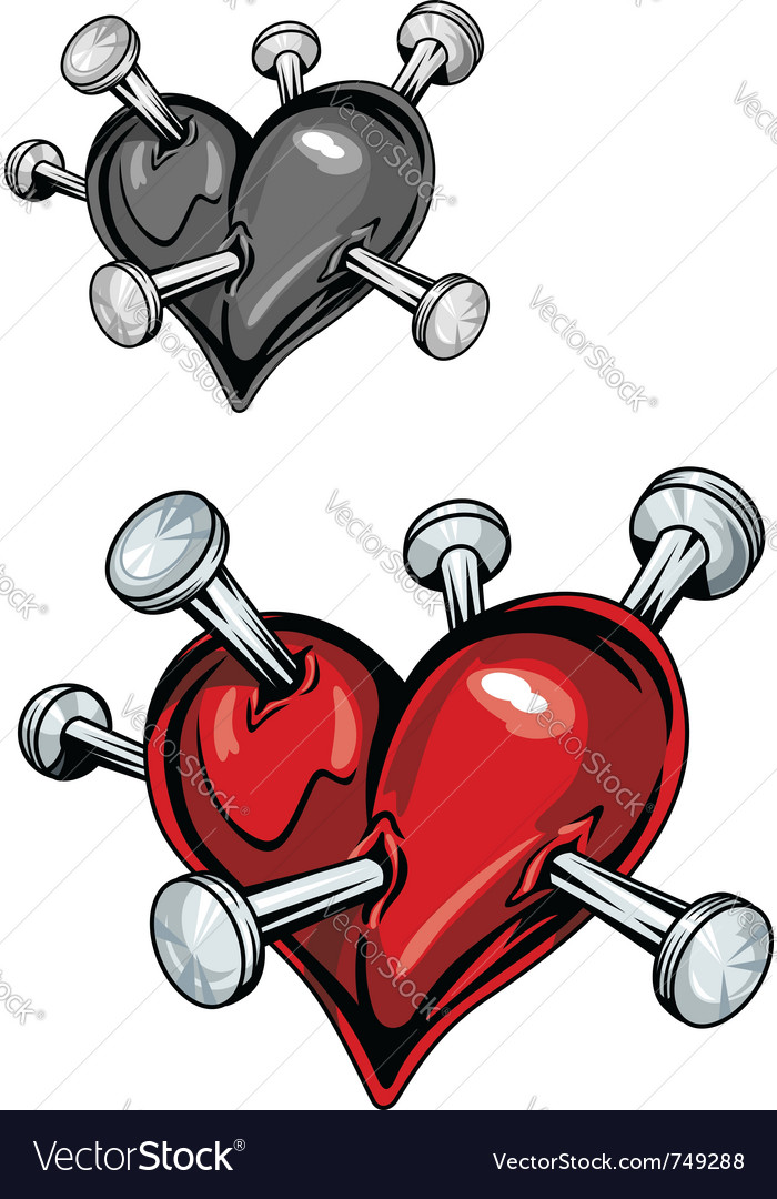 Damaged heart with nails vector | Price: 1 Credit (USD $1)